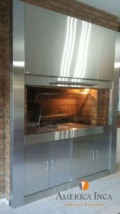 Parrilla de acero inoxidable completa moderna Commercial Interior Design, Outdoor Kitchen, Interior, Patio Design, Kitchen, Home Decor, Commercial Interiors, Double Wall Oven, Deco