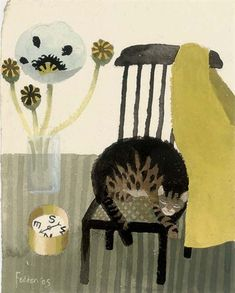 View The Poppy, The Cat and The Compass By Mary Fedden; x 6 in. Access more artwork lots and estimated & realized auction prices on MutualArt. Kitsch, Art Grants, Cat Plants, Cat Drawing, Drawing Ideas, Sketchbook Inspiration, Naive Art, Cat Art, Pet Birds