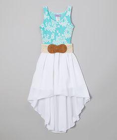 Blue & White Floral Belted Hi-Low Dress - Girls by Maya Fashion #zulily #zulilyfinds
