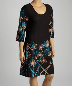 Another great find on #zulily! Black & Blue Floral Shift Dress - Plus by Reborn Collection #zulilyfinds