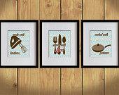 Kitchen Art Print - Sky Blue Damask Prints, Dining Utensils, Mixer - Set of 3 - 8X10 - Brown, Pink, Saucepan, Values Print - No. KB003-7