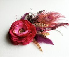 red and purple flowers headdress