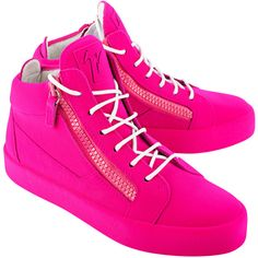 GIUSEPPE ZANOTTI May London Total Flok Ricamo Fluo Pink // Suede... (£640) ❤ liked on Polyvore featuring shoes, sneakers, suede leather shoes, pink trainers, giuseppe zanotti trainers, suede sneakers and zipper sneakers