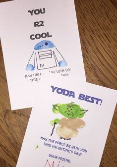 Star Wars crafts. Star Wars  DIY thumbprint valentines. We came up with these for my little Star Wars geek. Still finding thumbprints around the house! Yoda
