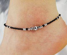 Anklet Ankle Bracelet Metallic Silver Anklet Black Anklet Beaded Anklet Minimalist Anklet Crystal Anklet Summer Anklet Minimalist Jewelry
