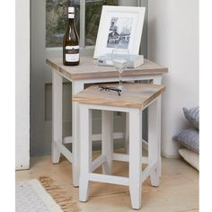 traditional two tone grey painted side tables with a stunning whitewashed wood top from our signature grey range