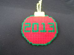 2013 Christmas Ornament in Red by RhondasCanvasCrafts on Etsy, $4.50