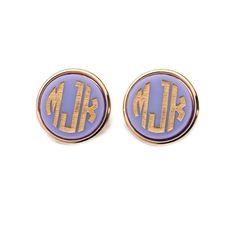 Moon and Lola  -  Vineyard Round Monogram Post Earrings