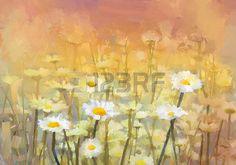 campos de flores: Campo vintage flores de margarita manzanilla pintura al óleo al amanecer