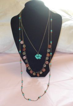 Long 3 Strand Turquoise Bohemian Necklace by AAAJEWELRYSTORE, $20.00