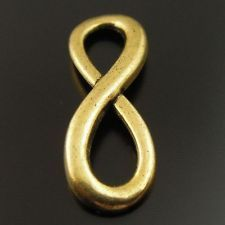4 Antique Gold Infinity Charms Connectors for Bracelets Jewelry or Crafts USA