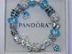 Authentic Pandora Bracelet with European Style Charms, Non Branded -Teal Love