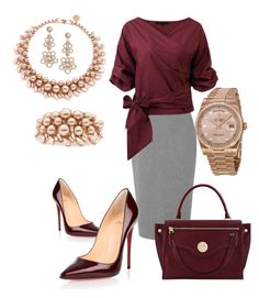 """Working Burgundy"" by vivian-rose-turner ❤ liked on Polyvore featuring L.K.Bennett, Christian Louboutin, Kate Spade, Rolex, Ellen Conde and Hill & Friends"