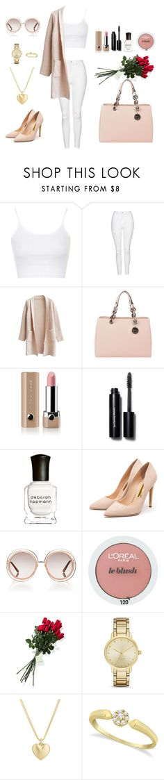 """Valentine Day's outfit"" by eaton05 ❤ liked on Polyvore featuring Topshop, MICHAEL Michael Kors, Marc Jacobs, Bobbi Brown Cosmetics, Deborah Lippmann, Rupert Sanderson, Chloé, L'Oréal Paris, Hanky Panky and Kate Spade"