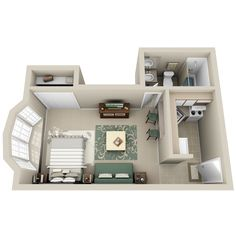 Apartment condo floor plan 33 small living pinterest - Transforming a studio apartment three ingenious solutions ...