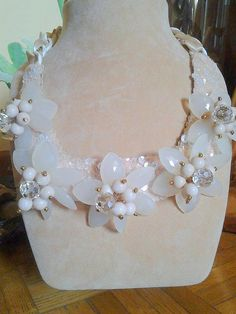 White Gardenia Beaded Necklace Beaded Jewelry Made in Italy Art Italy