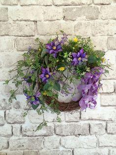 Purple Summer Wreath, Summer Door Decor, Summertime Wreath, Silk Floral Wreath, Front Door Wreath, Outdoor Wreath, Purple and Yellow, Adorabella Wreaths on Etsy!