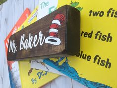What teacher doesn't love Dr. This name sign would be such a happy addition to any teacher's desk! Classroom Signs, Classroom Decor, Teacher Name Signs, Painted Wood Signs, Red Fish, Teacher Appreciation Gifts, Painting On Wood, Desk, Happy
