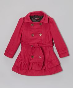 Take a look at this Fall Fuchsia Belted Ruffle Coat - Toddler & Girls by Shampoo on #zulily today!