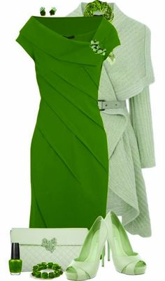 Love the style lines in this dress Shades Of Green, Pink And Green, Vert Olive, Green Fashion, Fashion Outfits, Womens Fashion, Cute Outfits, Green Outfits, Green Colors