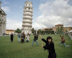 Martin Parr : ITALY. Pisa. The Leaning Tower of Pisa. From 'Small World'. 1990.