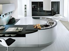 Modern Kitchen Stunning Black And White Modern Kitchen Flooring Options Beautiful Kitchens Tiles Less Furnished With Stylish Kitchen Island In Curvy Line Style Design kitchen-flooring-tile-ceramic-tiles-Black-and-White-J-shaped-Kitchen-Island-with-Transparent-Stools-Combined-with-White-Shelving-Units-with-Black-Backdrop