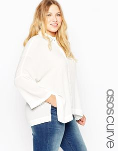 ASOS CURVE Oversize Blouse in Crinkle