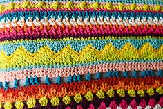 Sampler Blanket by Ali Campbell - This vibrant blanket is designed especially for beginners to practise basic stitches and combinations with a stunning end result.  For more information see:http://ift.tt/2tRH3D4