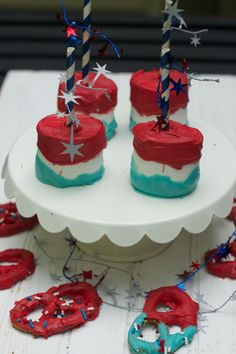 4th-of-july-desserts ideas. Fun firecracker pops and red white and blue pretzels