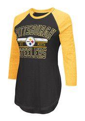 Pitt Steelers Womens Hang Time Black T-Shirt