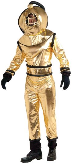 Mens Deep Sea Diver Suit Costume Vintage Look Gold Jumpsuit Helmet Adult Holiday Costumes, Halloween Costume Contest, Costume Ideas, Baby Costumes, Adult Costumes, Weird Costumes, Scuba Diver Costume, Under The Sea Costumes, Gold Jumpsuit