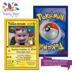 Pokemon Card Photo Birthday Invitation