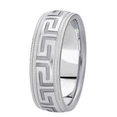 Brash Greek Key Design Wedding Band