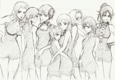 Bleach female cast of characters - Kubo Tite pencil sketch