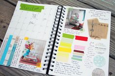 inspiration journal with monthly calendar.
