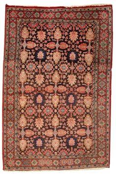 Hand made antique Persian Bidjar rug 4.4' x 6.6' ( 134cm x 202cm ) 1930 - 1C289