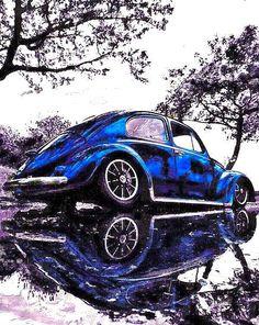'Ice Cold' by Beetle-Ink Ferdinand Porsche, Vw Bus, E Motor, Volkswagen Karmann Ghia, Vw Vintage, Cute Cars, Top Cars, Car Wheels, Vw Beetles