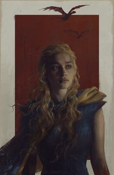 Beautiful painting by Sam Spratt of Daenerys Targaryen as portrayed by Emilia Clarke in the Game of Thrones TV series.