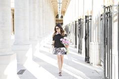 sunnies // lip // collar (and sweater) // top (similar) // skirt (also love this one) // bag // sandals How many blogger-in-Paris cliches can I fit into one photoshoot? With the help of Emily, basical
