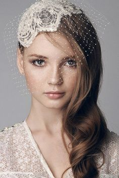 Lace beaded bridal cap head piece with hand made by beretkah, $220.00