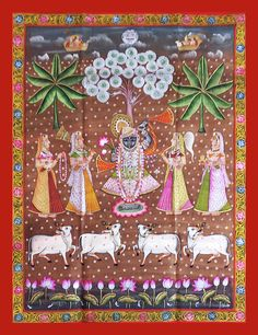 Shrinathji Vanvihar Pichwai This Pichwai is a tribute to Shrinathji as child incarnation of Lord Krishna and his life stories   It portrays Shrinathji in Vrindavan with Gopis under the tree of life. This pichwai also shows a bunch of cows which were Krishna's favorite as he was very fond of milk, butter and all other dairy products.   Lotus is an integral part of every pichwai paintings. These serve as offering to Krishna. Lotus depicts struggle in life, since it grows in muddy waters, yet…