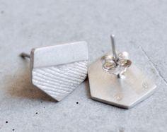 sterling silver polygon earrings. Handmade Jewelry, Unique Jewelry, Handmade Gifts, Women's Earrings, Cufflinks, Bronze, Sterling Silver, Crafts, Etsy