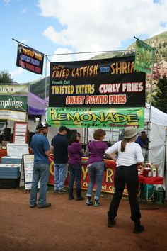 Fried catfish and shrimp, twisted taters, curly fries, sweet potato fries and fresh squeezed lemonade (regular or strawberry), food stand at. Telluride Blues And Brews, Fresh Squeezed Lemonade, Curly Fries, Fried Catfish, Food Stands, Brewing, Album, Drinks, Sweet Potato