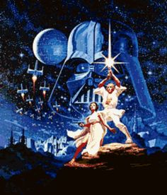 Star Wars - A New Hope Cross Stitch Pattern  Grid size : 213 x 260 37 colours  2 PDFs to download  1st PDF includes ( 3.6 mb): Cover page 22