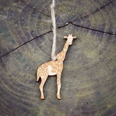 Giraffe Ornament Wood Laser Cut Heirloom African Animal Safari Zoo Natural