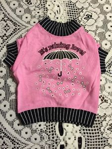 Dog T-Shirt Size Small Pink With Black Trim It's Raining Love #dogs  http://www.ebay.com/itm/Dog-T-Shirt-Size-Small-Pink-With-Black-Trim-Its-Raining-Love-/131841650932?hash=item1eb25ff0f4:g:TJ0AAOSwcL5XMWWP