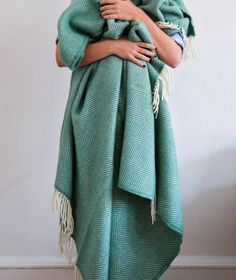 Lifestyle New Wool Blanket in Sea Green Fishbone | The Tartan Blanket Co.