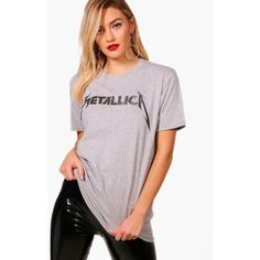 Boohoo Lily License Metallica Slogan Bright Tee ($12) ❤ liked on Polyvore featuring polka dot camisole, pink jersey, pink cami, cropped camisole and polka dot cami