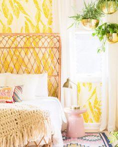brightly hued bedroom