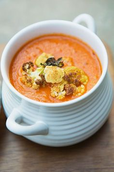 Tomato Soup with Roasted Cauliflower Crumble #recipe via MomAdvice.com